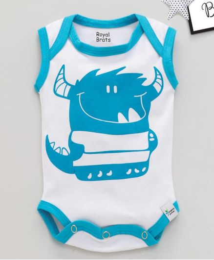 ROYAL BRATS Sleeveless Printed Onesie - White & Blue
