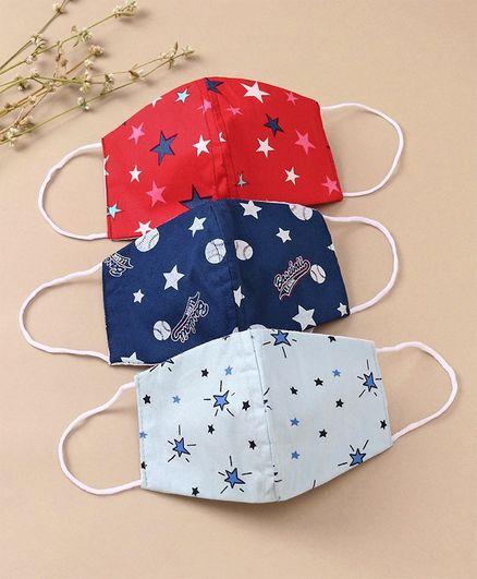 Babyhug Face Mask Star Print Pack Of 3 - Multicolor