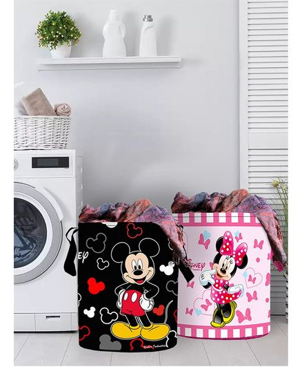 Fun Homes Laundry Bag Mickey Mouse And Friends Print Set Of 2 - Black Pink