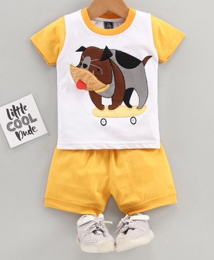 Jb Club Half Sleeves Dog Patch Tee With Shorts - Yellow