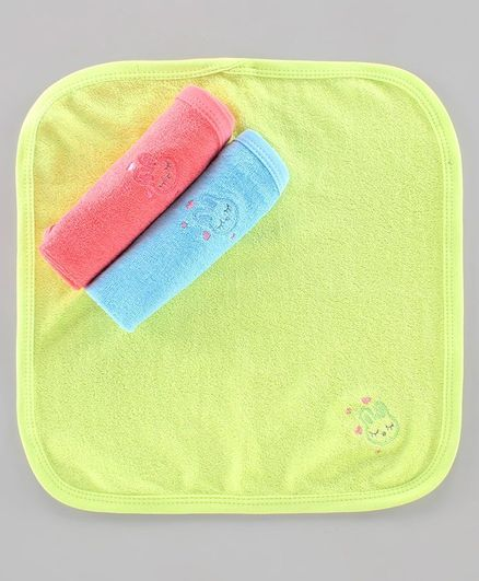 Simply Wash Cloth Embroidered Pack Of 3 - Blue, Pink & Orange