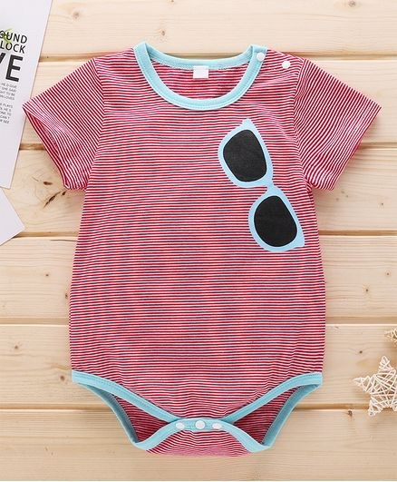Kookie Kids Half Sleeves Striped Onesie - Red