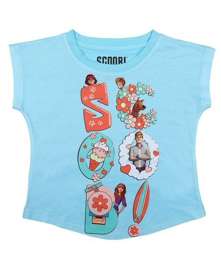 Scooby-Doo By Crossroads Short Sleeves Character Print  Top - Sky Blue