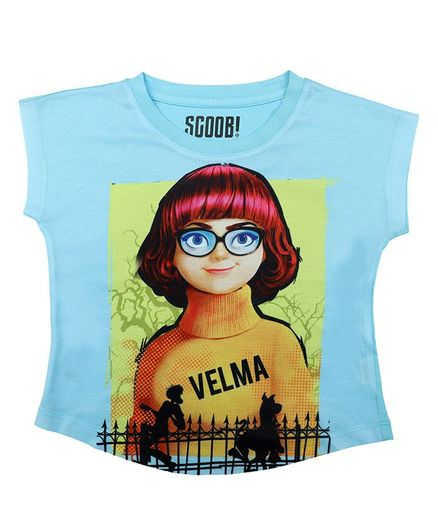 Scooby-Doo By Crossroads Short Sleeves Velma Character Print  Top - Sky Blue