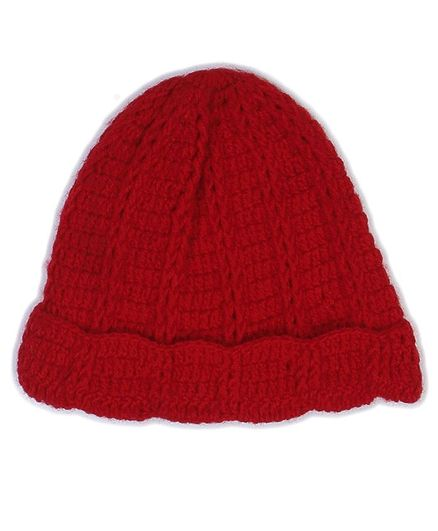 USHA ENTERPRISES Solid Colour Hand Knitted Cap - Red