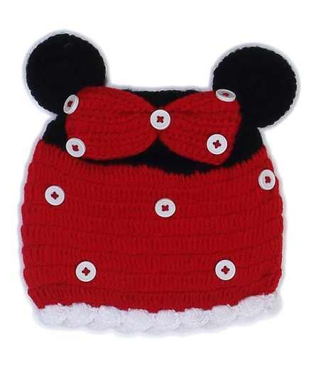 USHA ENTERPRISES Hand Knitted Bow Design Cap - Red