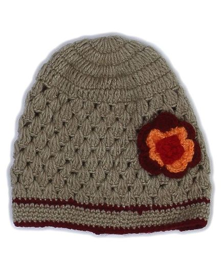 USHA ENTERPRISES Hand Knitted Flower Crochet Cap - Beige