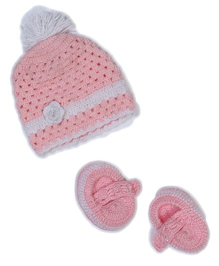 USHA ENTERPRISES Pom Pom Detailing Cap With Booties - Baby Pink