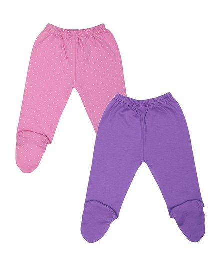 Grandma's Pack of 2 Polka Dot Print Full Length Footed Pant - Pink & Purple