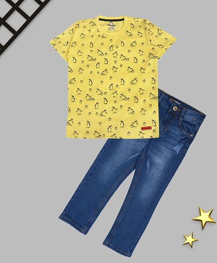 Crazy Penguin Half Sleeves Penguin Printed Tee & Denim Jeans Set - Yellow & Blue