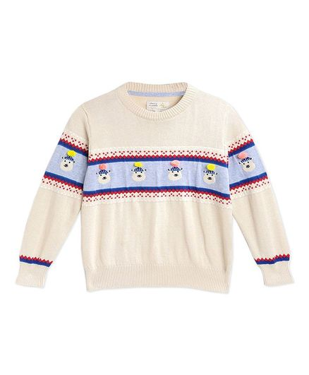 Cherry Crumble By Nitt Hyman Full Sleeves Pom Pom Animal Design Sweater - Cream