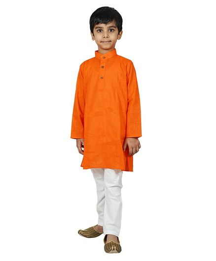 Mittenbooty Full Sleeves Solid Kurta With Pajama - Orange & White