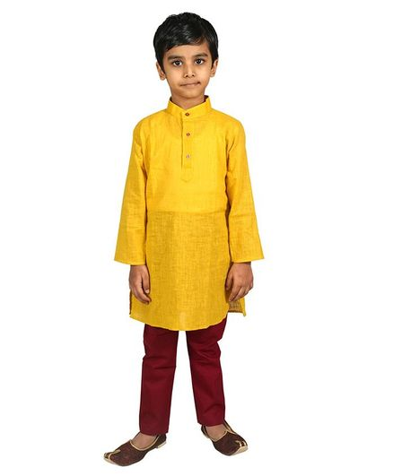 Mittenbooty Full Sleeves Solid Kurta With Pajama - Mustard & Maroon