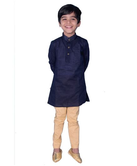 Mittenbooty Full Sleeves Solid Kurta With Pajama - Navy Blue & Beige