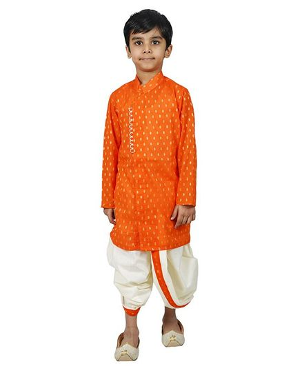 Mittenbooty Full Sleeves All Over Golden Foil Print Kurta With Dhoti - Orange & Cream