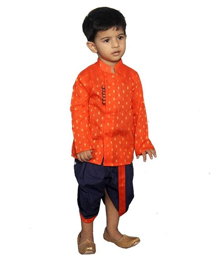 Mittenbooty Full Sleeves All Over Golden Foil Print Kurta With Dhoti - Orange & Navy Blue