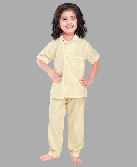 PinkChick Half Sleeves Micro Striped Night Suit - Yellow