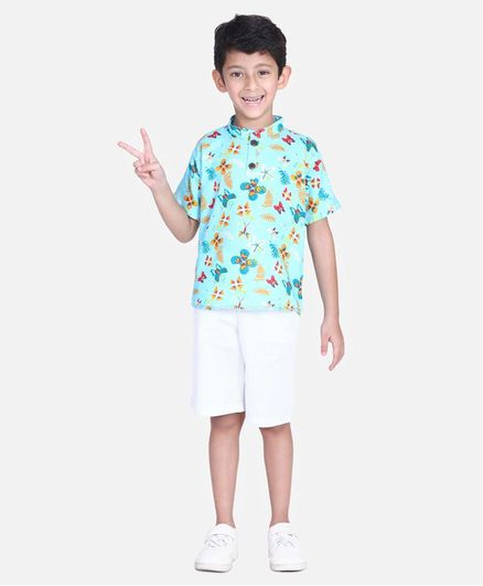 Cutiekins Floral & Butterfly Print Half Sleeves Shirt With Shorts - Light Blue