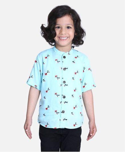 Cutiekins Half Sleeves Tulip Flower Printed Shirt - Blue