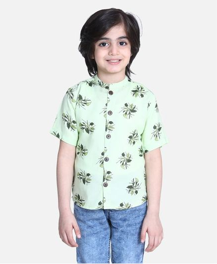 Cutiekins Half Sleeves Floral Print Shirt - Light Green