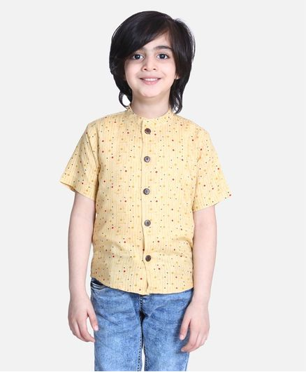 Cutiekins Half Sleeves Striped & Dot Printed Shirt - Beige