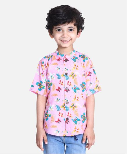 Cutiekins Half Sleeves Butterfly & Floral Print Shirt - Light Pink