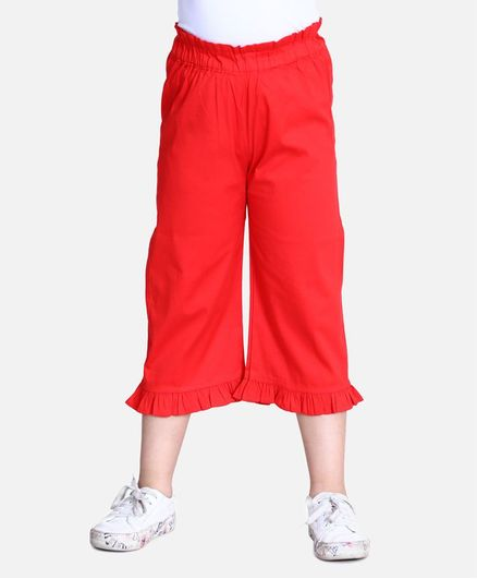 Cutiekins Solid Color Three Fourth Length Capri Palazzo - Red