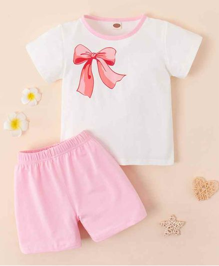 Kookie Kids Half Sleeves Nightwear Bow Print - White