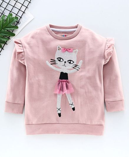 Ventra Full Sleeves Sequin Ballerina Cat Embellished Sweatshirt - Light Pink