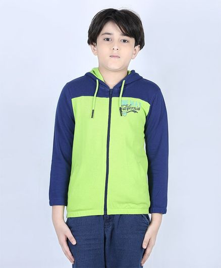 Ventra Full Sleeves Solid Colour Hooded Jacket - Green