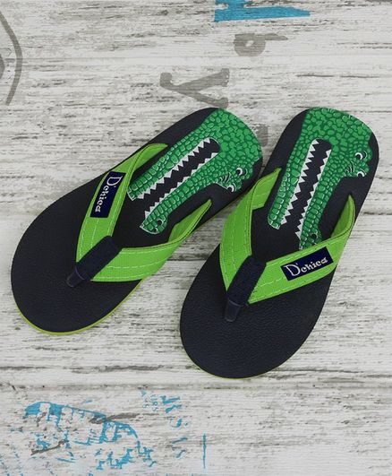D'chica Bro Crocodile Print Flip Flops -Navy Blue & Green