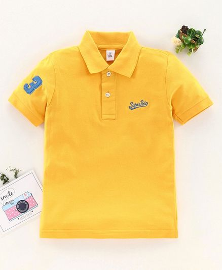 ToffyHouse Half Sleeves T-Shirt Text Embroidered - Yellow