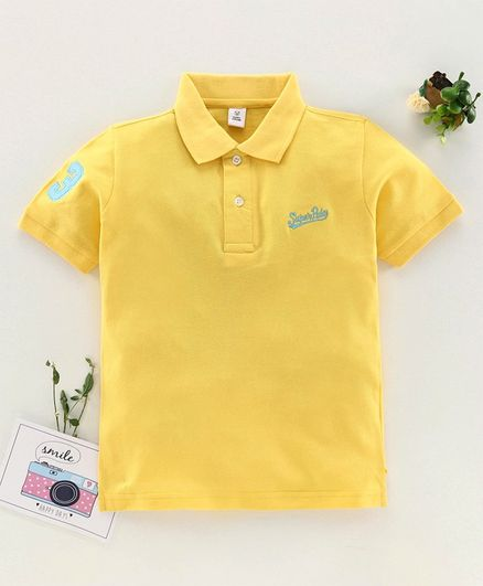 ToffyHouse Half Sleeves T-Shirt Text Embroidery - Light Yellow