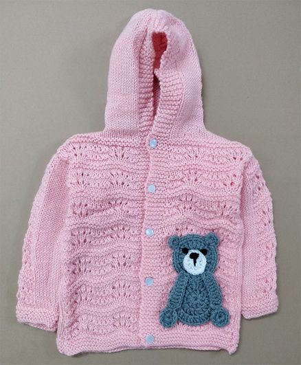 Knit Masters Full Sleeves Teddy Design Hoodie Sweater - Peach