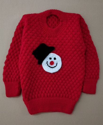 Knit Masters Full Sleeves Snowman Pattern Sweater - Red