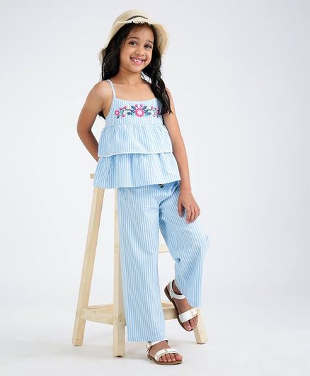 Babyhug Singlet Sleeves Striped Layered Top and Pant Set Floral Embroidery - Blue