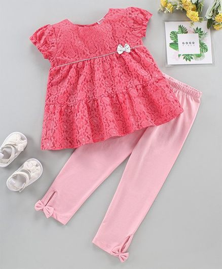 Babyhug Short Sleeves Top and Shorts Set Floral Embroidery - Pink