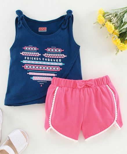 Babyhug Sleeveless Top with Shorts Text Print - Navy Blue Pink