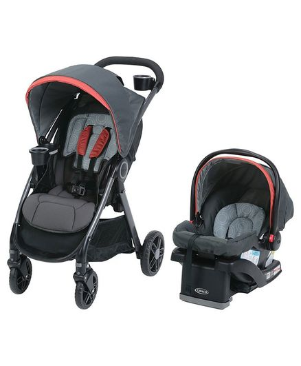 Graco Fast Action DLX Travel System - Black Red