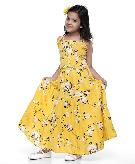 Pine Kids Singlet Sleeves Top and Skirt Set Floral Print - Yellow