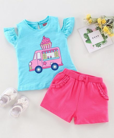 Babyhug Short Sleeves Cold Shoulder Top and Shorts Set Cup Cake Print - Blue