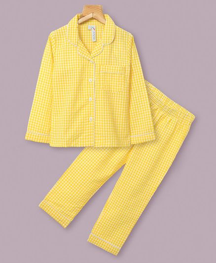 Little Carrot Full Sleeves Checked Night Suit - Yellow