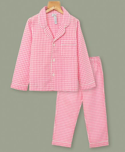 Little Carrot Full Sleeves Checked Night Suit - Pink