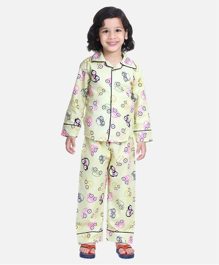 BownBee Full Sleeve Car Printed Night Suit - Yellow