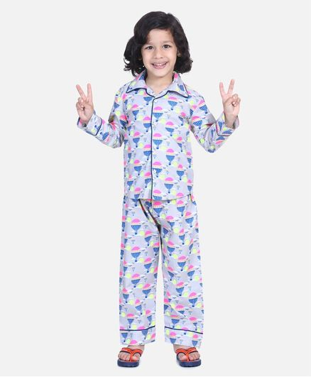 BownBee Full Sleeve Hot Air Balloon Printed Night Suit - Multi