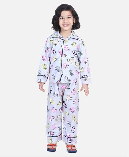 BownBee Full Sleeve Car Printed Night Suit - Grey