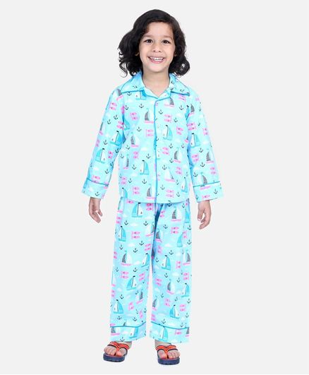 BownBee Full Sleeve Anchor & Boat Printed Night Suit - Blue