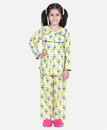 BownBee Full Sleeve Hot Air Balloon Printed Night Suit - Yellow