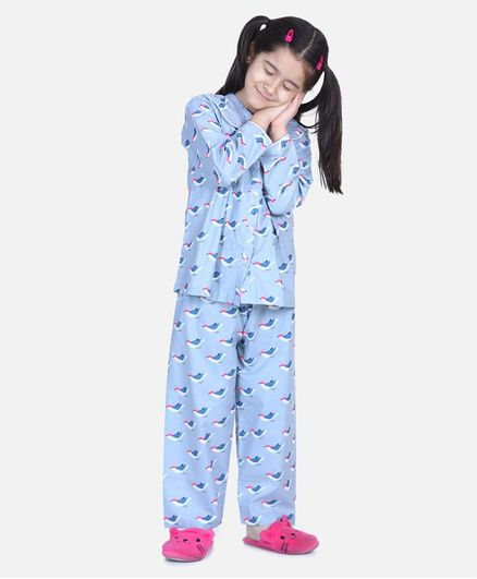 BownBee Full Sleeve Bird Printed Night Suit - Gray