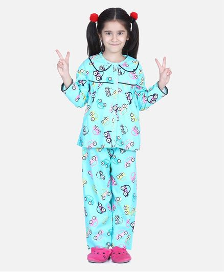 BownBee Full Sleeve Car Printed Night Suit - Blue